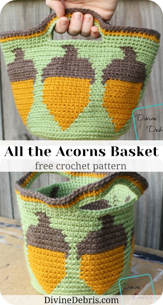 Learn to make the fun and surprisingly simple tapestry crochet basket, the All the Acorns Basket, from a free pattern on DivineDebris.com