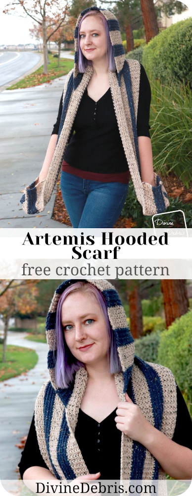 Be warm, cozy, and super chic this winter season with the Artemis Hooded Scarf, a free crochet pattern by DivineDebris.com