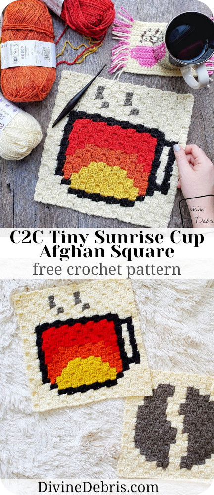 Learn to make the C2C Tiny Sunrise Cup Afghan Square, part of the Coffee CAL, from a free crochet pattern by DivineDebris.com