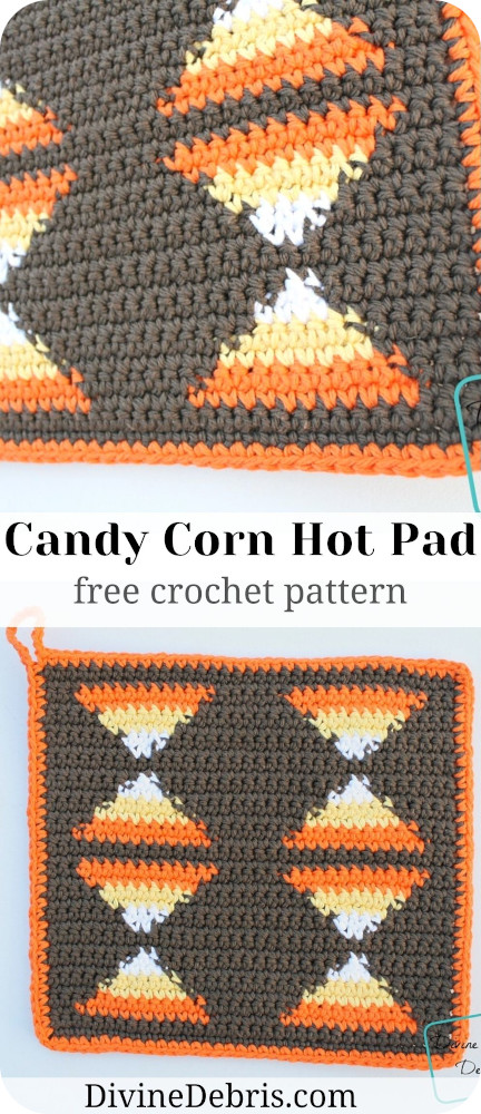 Get into the Halloween spirit with this fun and decorative hot pad, the Candy Corn Hot Pad from a crochet pattern free on DivineDebris.com!