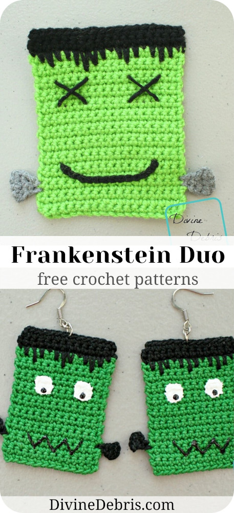 Make your Halloween year-round and fun with these Frankenstein Coaster and Earring Duo free crochet patterns by DivineDebris.com
