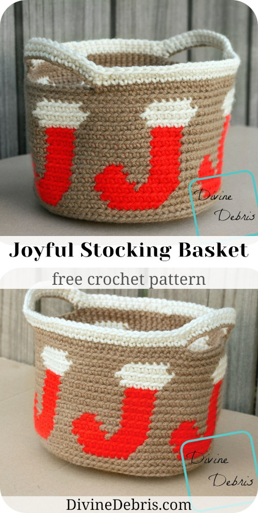 Learn to make the fun Christmas home decor basket, the Joyful Stocking Basket free crochet pattern by DivineDebris.com