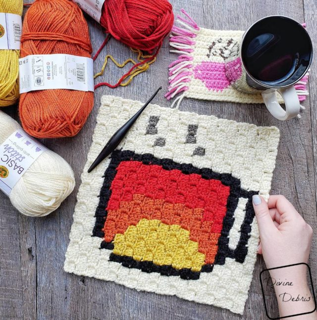 Learn to make the Tiny Sunrise Cup C2C Afghan Square, part of the Coffee CAL, from a free crochet pattern by DivineDebris.com