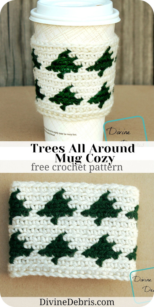 Learn to make the Trees All Around Mug Cozy for the Winter season, from a free tapestry crochet pattern by Divine Debris.