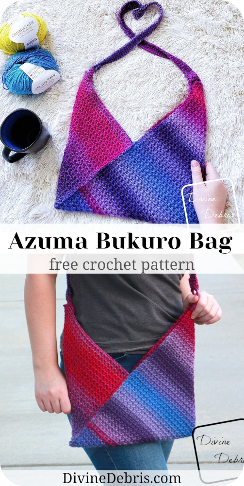 Learn to make the fun Azuma Bukuro Bag, a simple folded bag, from a free crochet pattern by DivineDebris.com