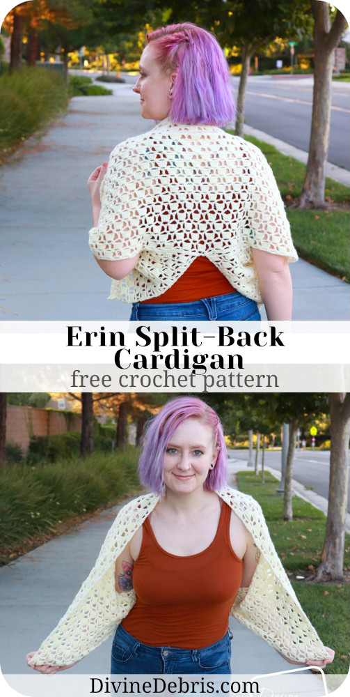 Learn to make the interesting and fun Erin Split-Back Cardigan, available in sizes X2 - 5X, from a free crochet pattern by DivineDebris.com