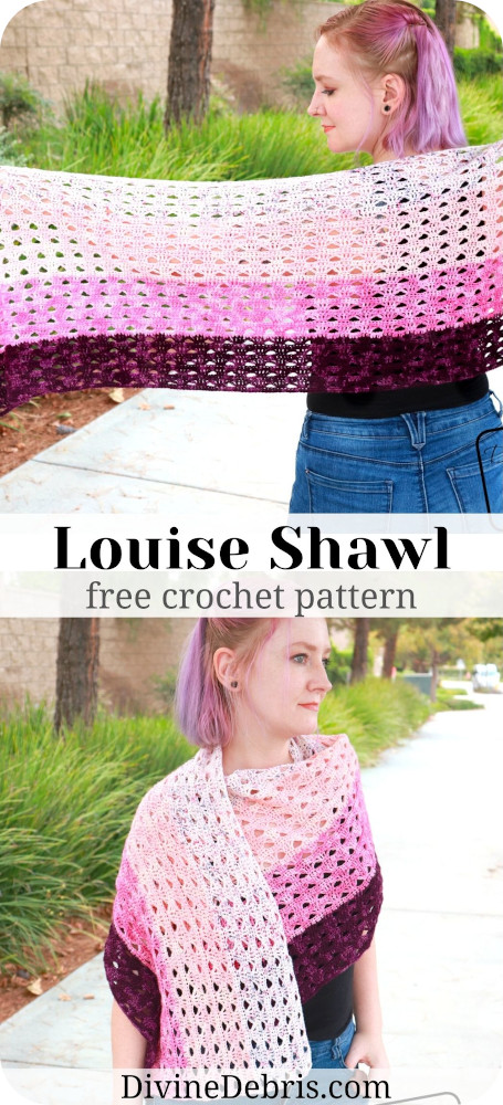 Get your fingering weight yarn and make the simple, easy, and very customizable free crochet pattern - the Louise Shawl by DivineDebris.com