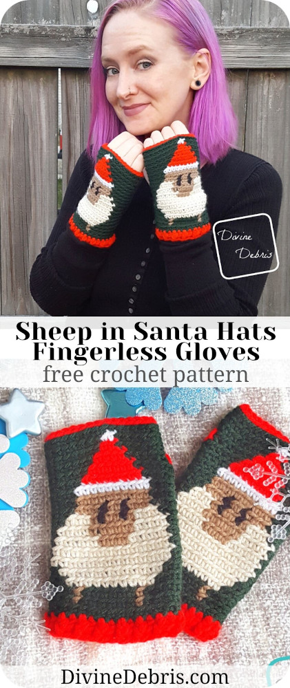 Learn to make these fun and festive Christmas themed crochet fingerless gloves, the Sheep in Santa Hats Fingerless Gloves from a free crochet pattern by DivineDebris.com