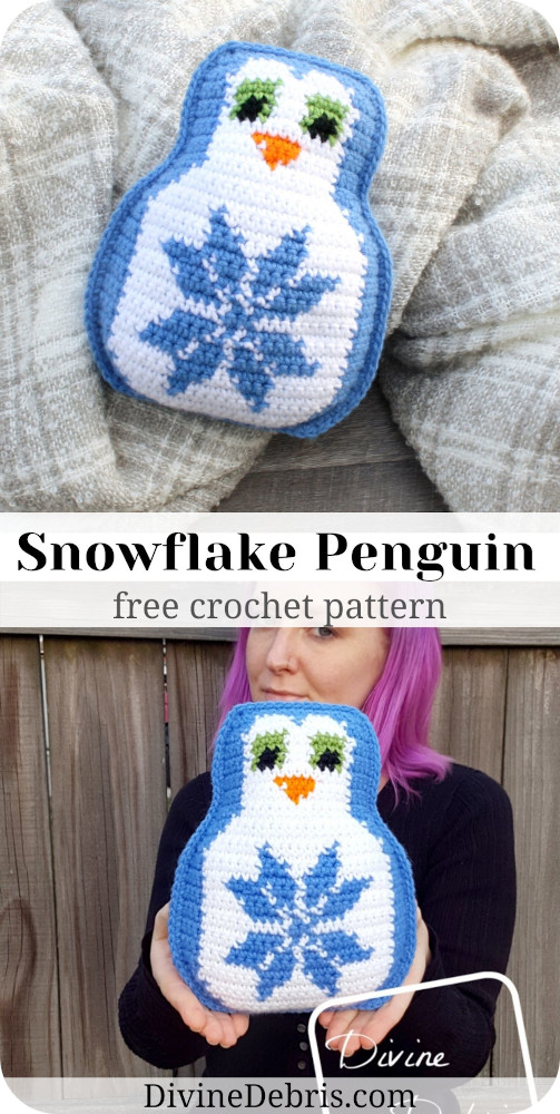 Learn how to make a cuddly penguin crochet amigurumi with a snowflake on its belly, Snowflake Penguin, from a free pattern on DivineDebris.com