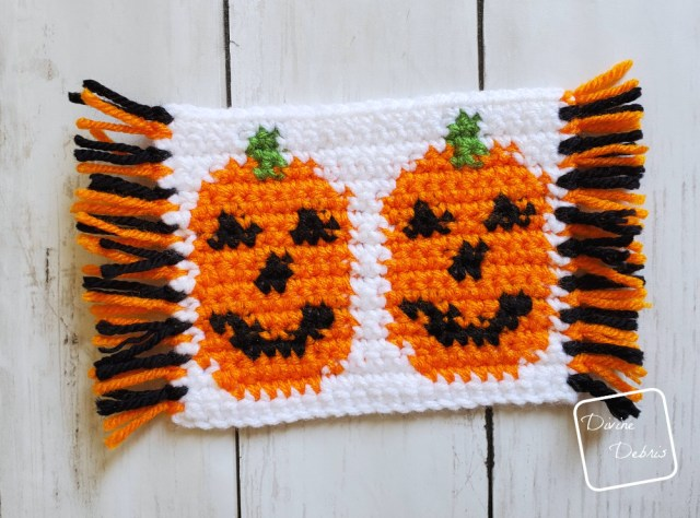Learn to make the Cute Pumpkins Mug Rugs from 2 free tapestry crochet patterns by DivineDebris.com