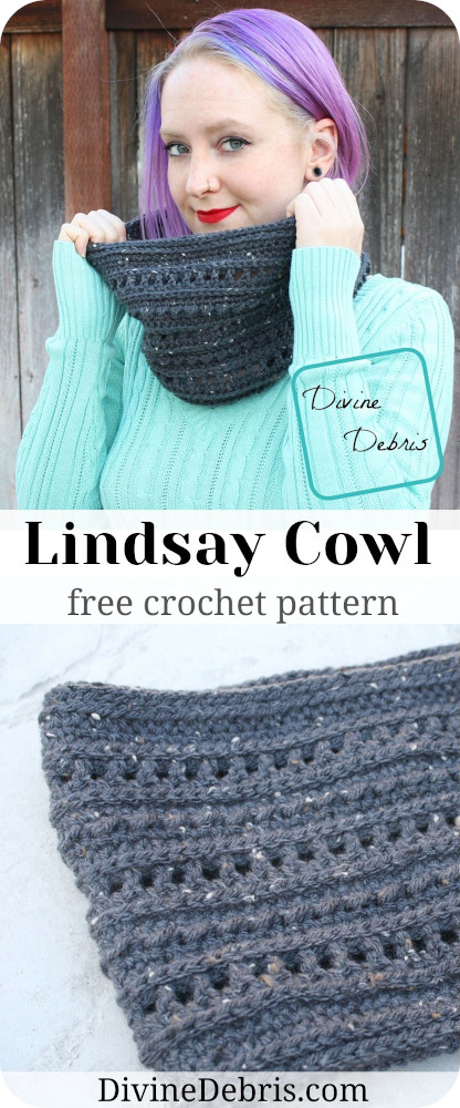 A simple but very adorable crochet cowl scarf for great for any occasion, the Lindsay Cowl free crochet pattern by DivineDebris.com