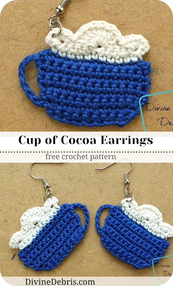 Learn to make the perfect Winter accessory, the Cup of Cocoa Earrings from a free crochet pattern by DivineDebris.com