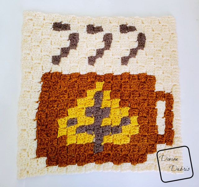 C2C Tiny Fall Leaf Cup Afghan Square free crochet pattern by DivineDebris.com