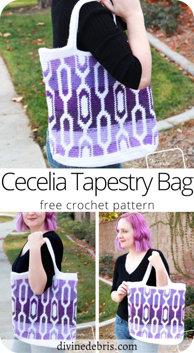 Learn to make the fun, retro, and exciting tapestry crochet Cecelia Tapestry Bag from a free crochet pattern on DivineDebris.com.