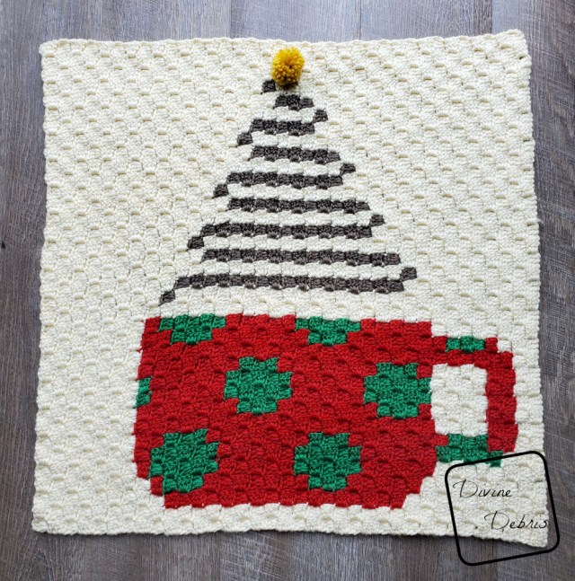 C2C Christmas Cup Afghan Square free crochet pattern by DivineDebris.com