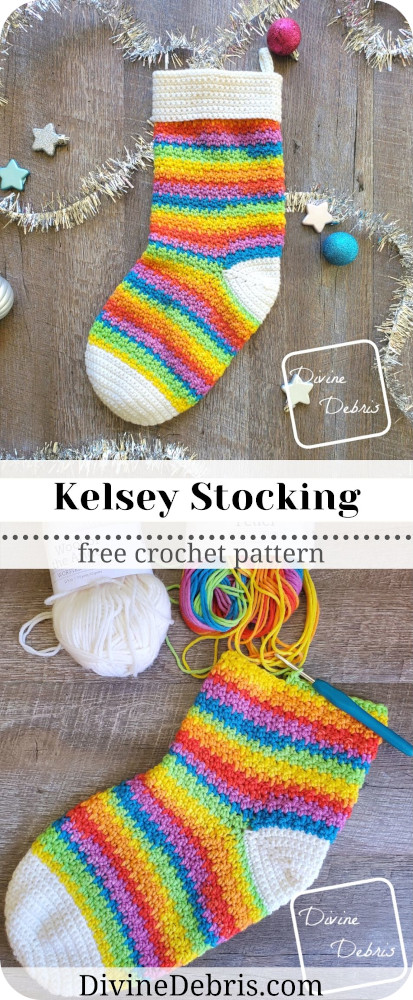 Have a fun and jolly Christmas season with handmade stockings, using the easy and customizable Kelsey Stocking crochet pattern by DivineDebris.com