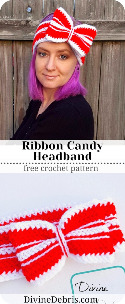 Learn to make the fun and holiday appropriate accessory, the Ribbon Candy Headband from a free crochet pattern by DivineDebris.com