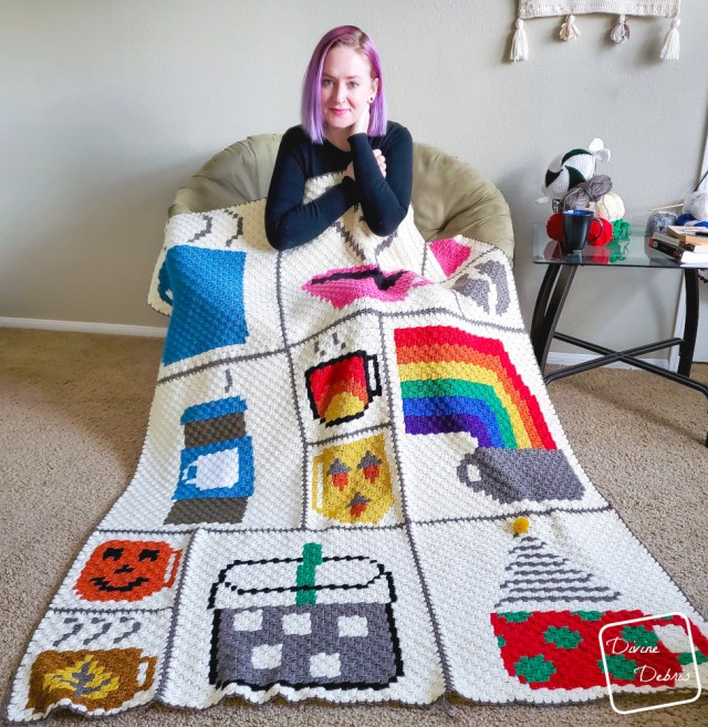 Learn about the 2020 C2C Coffee Themed Afghan Square Blanket as designed and completed by DivineDebris.com
