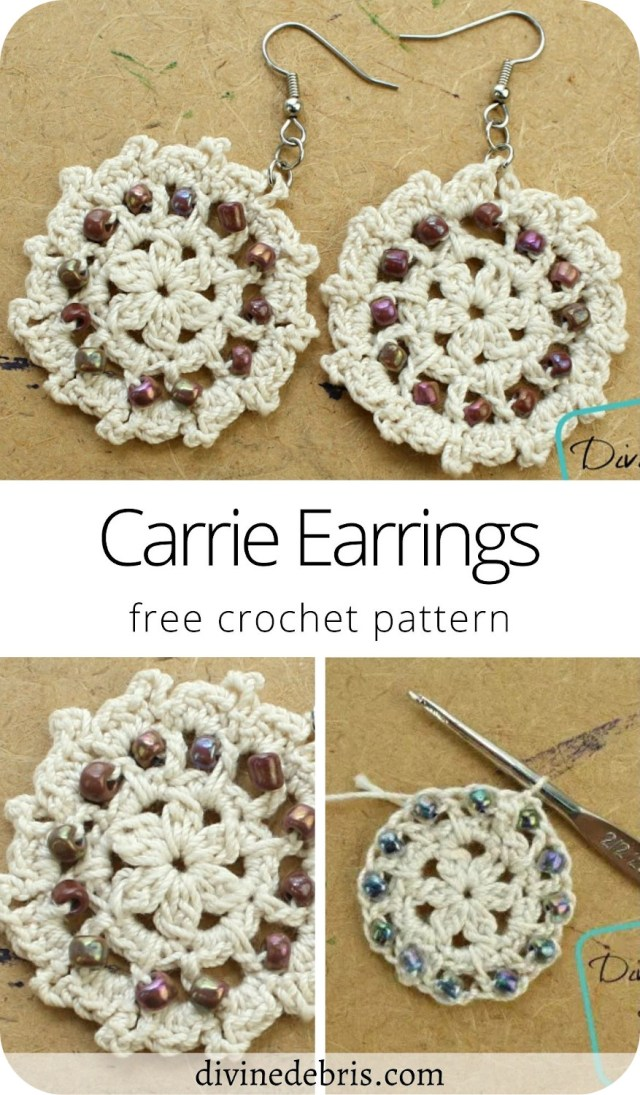 Learn to make the Carrie Earrings, a free and fun crochet earring pattern featuring fun texture and seed beads, from DivineDebris.com