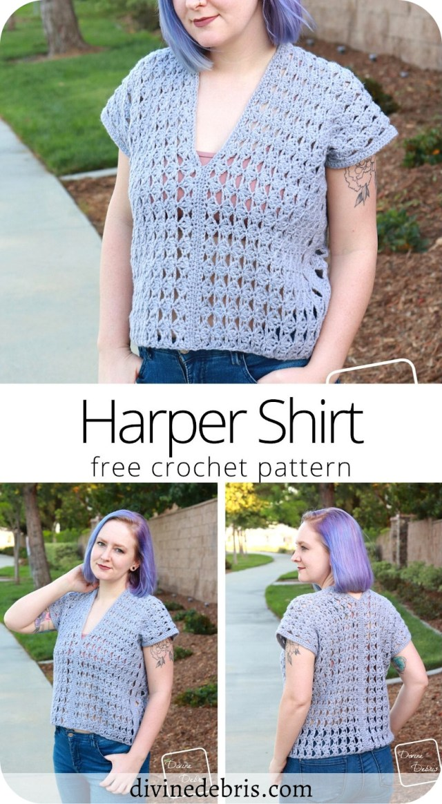 Learn to make the Harper Shirt, a fun, simple, and quick summer layering top, from a free crochet pattern on DivineDebris.com