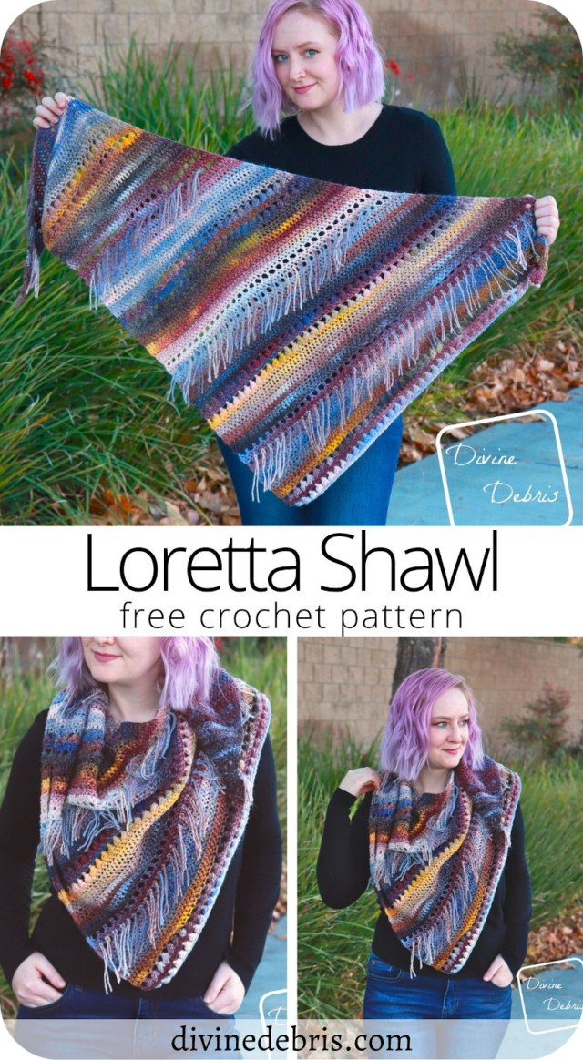 Bring a little big of classy yet modern flair with the Loretta Shawl, a free and easy crochet pattern available from DivineDebris.com.