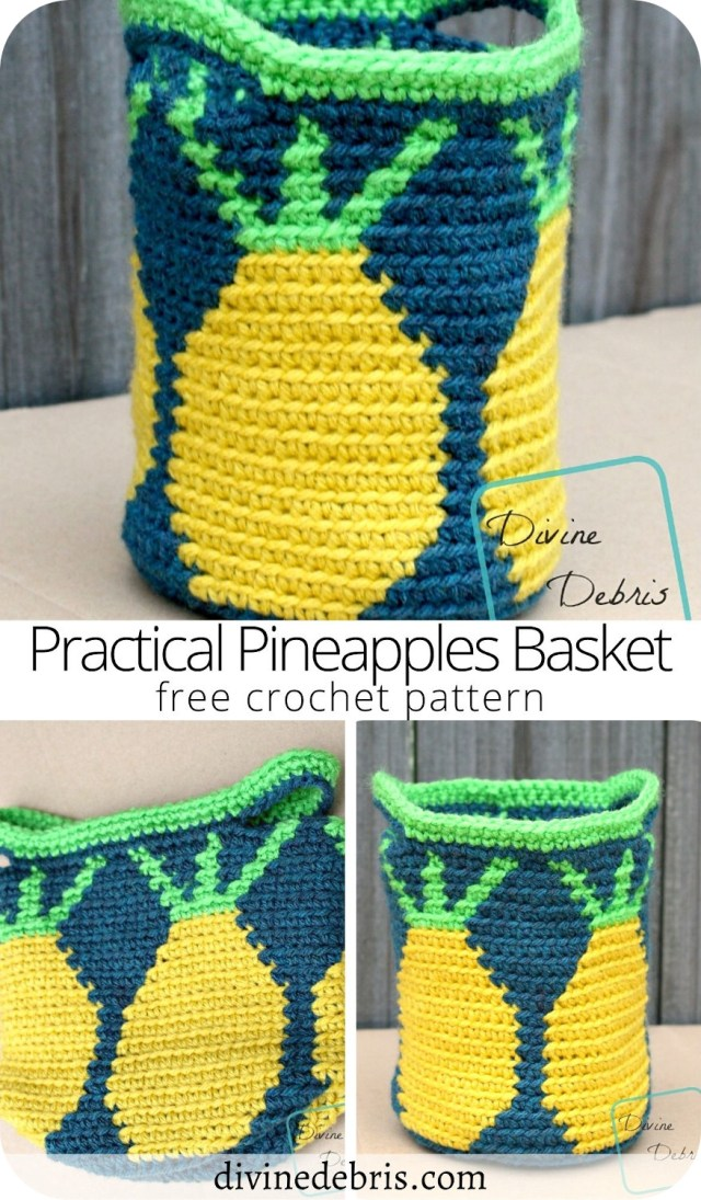 Learn to make the fun and cute tapestry crochet pattern, the Practical Pineapples Basket from a free crochet pattern by Divine Debris