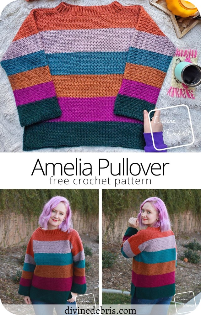 Have fun and learn to make the bold stripes and easy texture of the free Amelia Pullover crochet pattern by DivineDebris.com