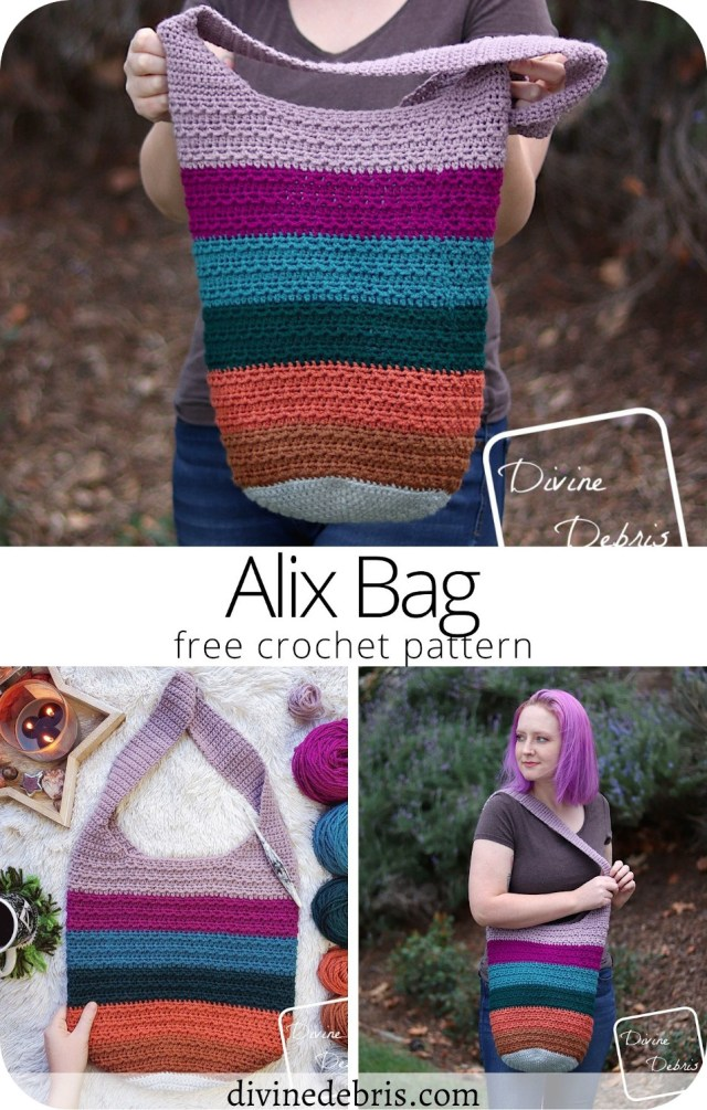 Learn to make a fun and deliciously textured bag with lots of room for creativity, the Alix Bag crochet pattern free from DivineDebris.com