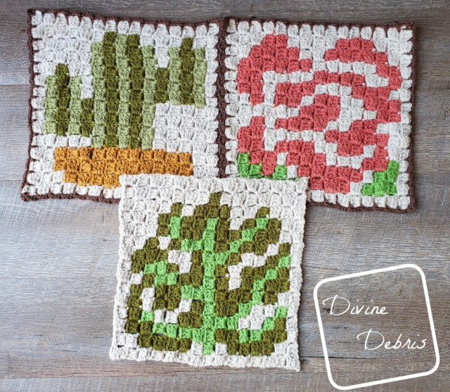 [Image description] C2C Monstera Leaf Afghan Square in the center with, slightly on top of the finished C2C Cactus Square and C2C Rose Square toward the top of the photo