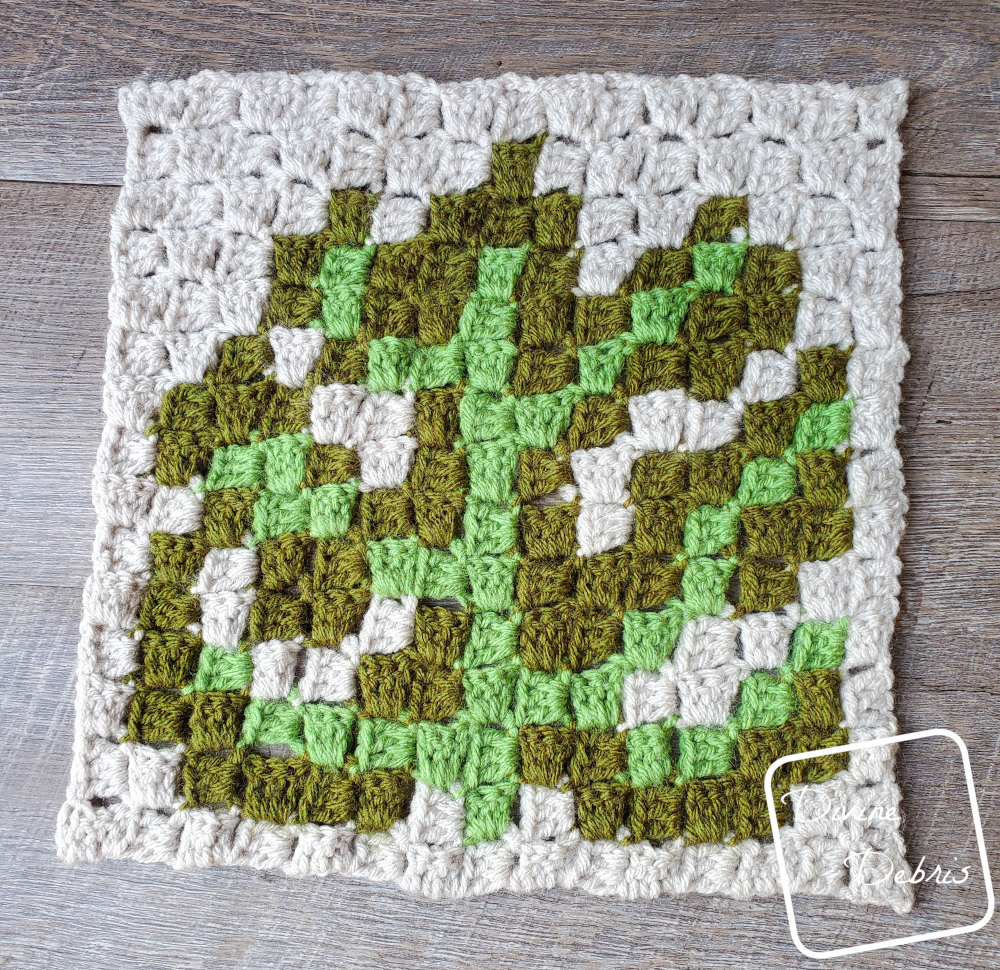 Plant C2C CAL – C2C Monstera Leaf Square Free Crochet Pattern