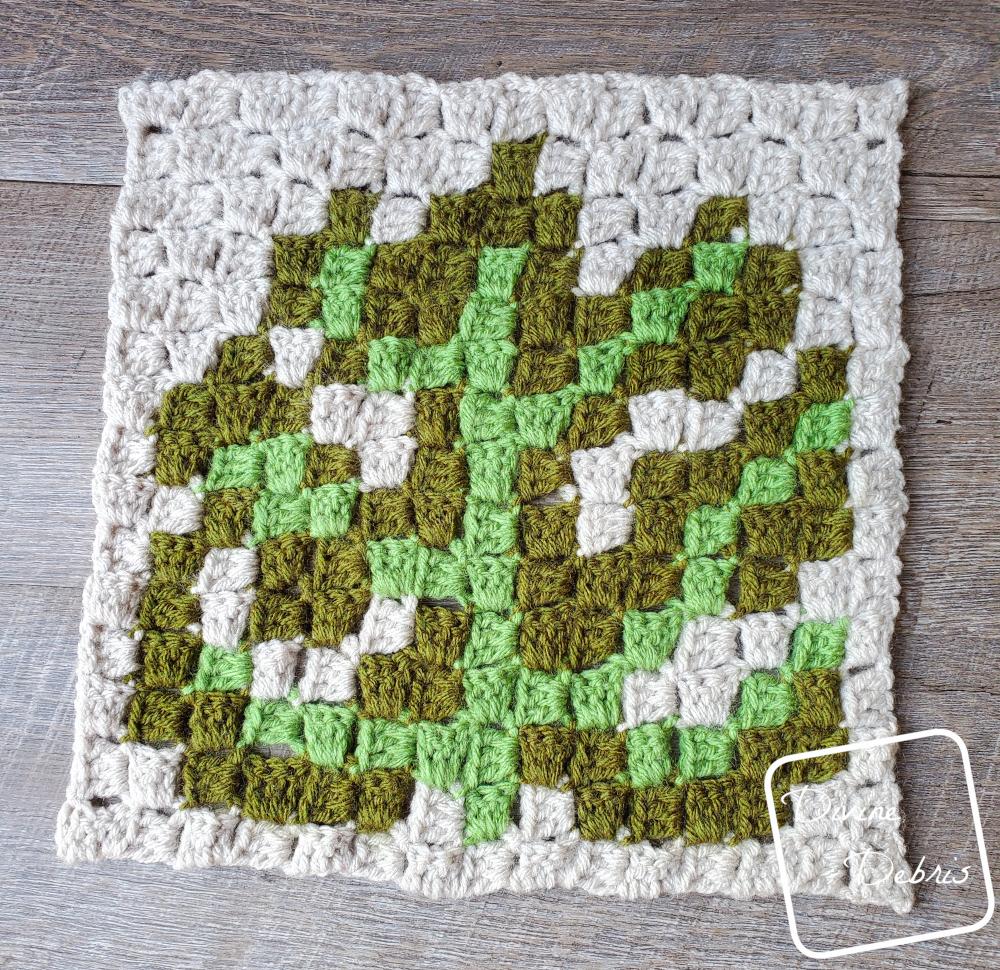 Plant C2C CAL – C2C Monstera Leaf Square Free Crochet Pattern
