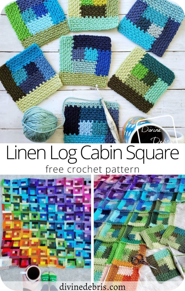 Learn how to make the Linen Log Cabin Square, a fun take on a classic design, from a free crochet pattern by DivineDebris.com