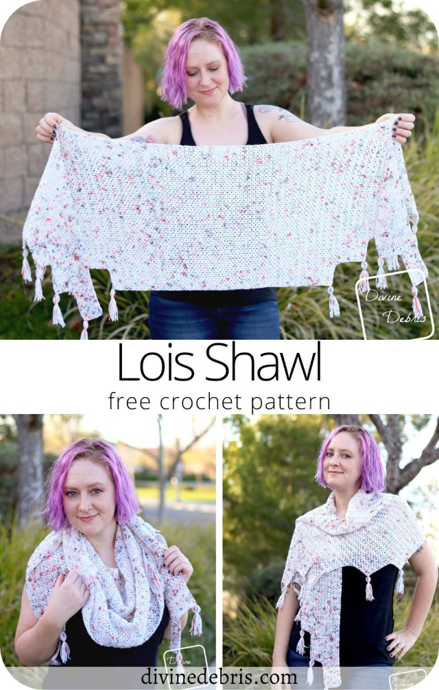 Learn to make the fun, easy, and simple to customize geometric Lois Shawl from a free crochet pattern on DivineDebris.com