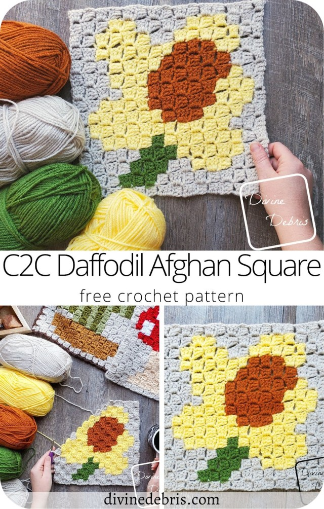 Learn to make the brand new C2C Daffodil Afghan Square, the fifth in the 2021 Plants C2C Square CAL by Divine Debris