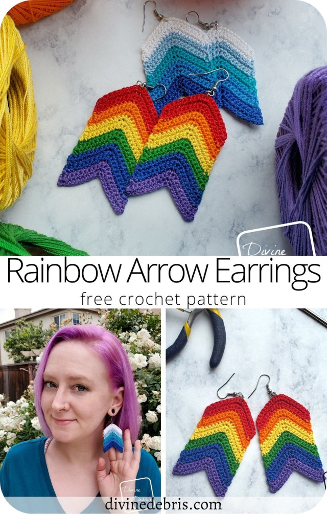 Learn to make the fun and easy Rainbow Arrow Earrings from a free crochet pattern. These are great for 6 colors or 2, you decide your style but with this earring pattern it'll never be boring.