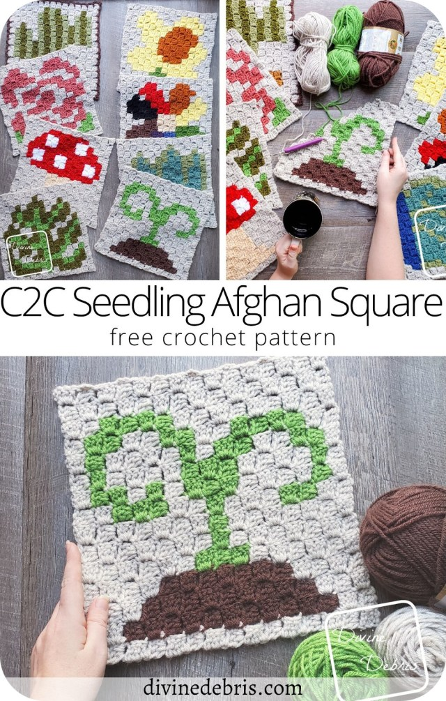 Learn to make the 8th in the year-long C2C CAL by Divine Debris, fun and quick the free C2C Seedling Afghan Square crochet pattern.