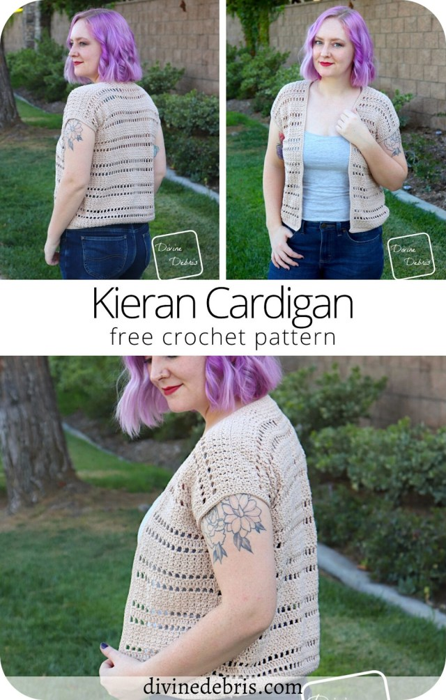 Have fun & look stylish while layering in the late Summer with the easy & customizable free Kieran Cardigan crochet pattern by Divine Debris