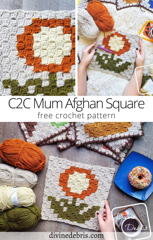 Learn to make the Fall themed September square, the C2C Mum Afghan Square, in the year long Plants Corner to Corner CAL by DivineDebris.com