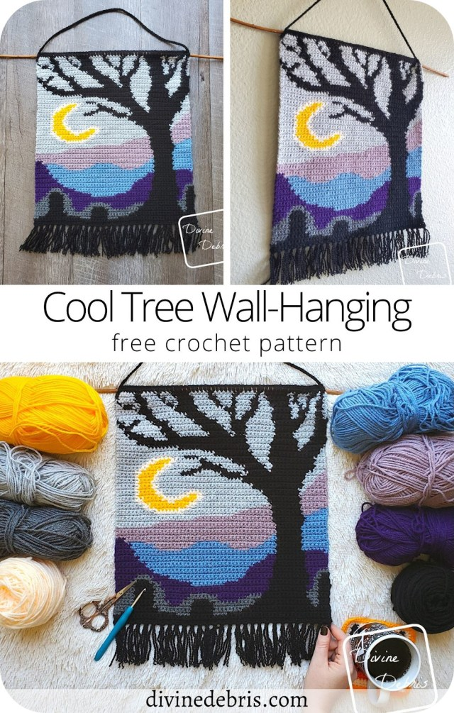 Learn to make the fun, spooky, and colorful Cool Tree Wall-Hanging from a easy graph available for free on DivineDebris.com