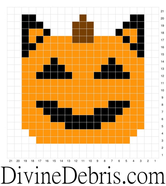 [Image description] Image of the Cat-O-Lantern graph from the Halloween Pumpkin Coasters crochet patterns by DivineDebris.com