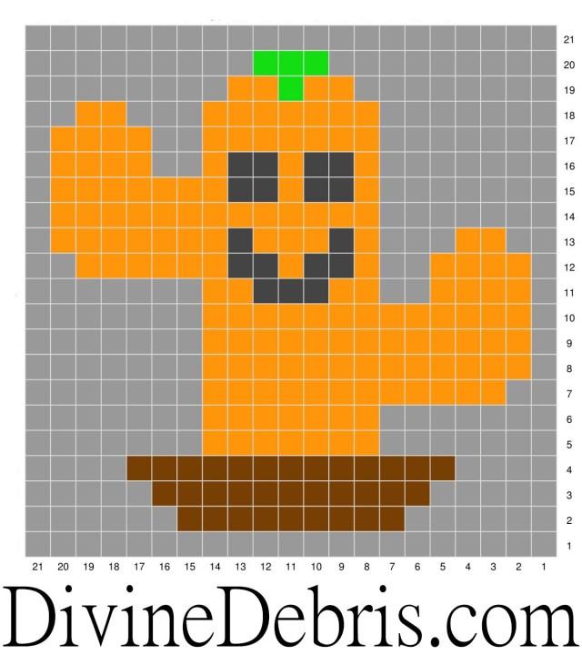 Halloween Cactus Coasters Crochet patterns: Cactus-O-Lantern graph.
