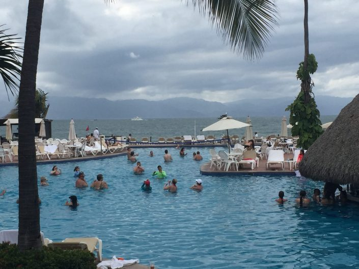 Spirit retreat 2016 Puerto Vallarta One of the Velas Vallarta pools with the ocean and mountains in the background