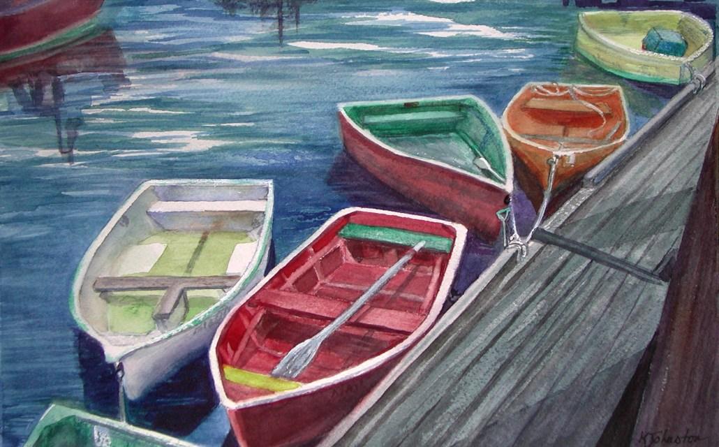 watercolor of row boats