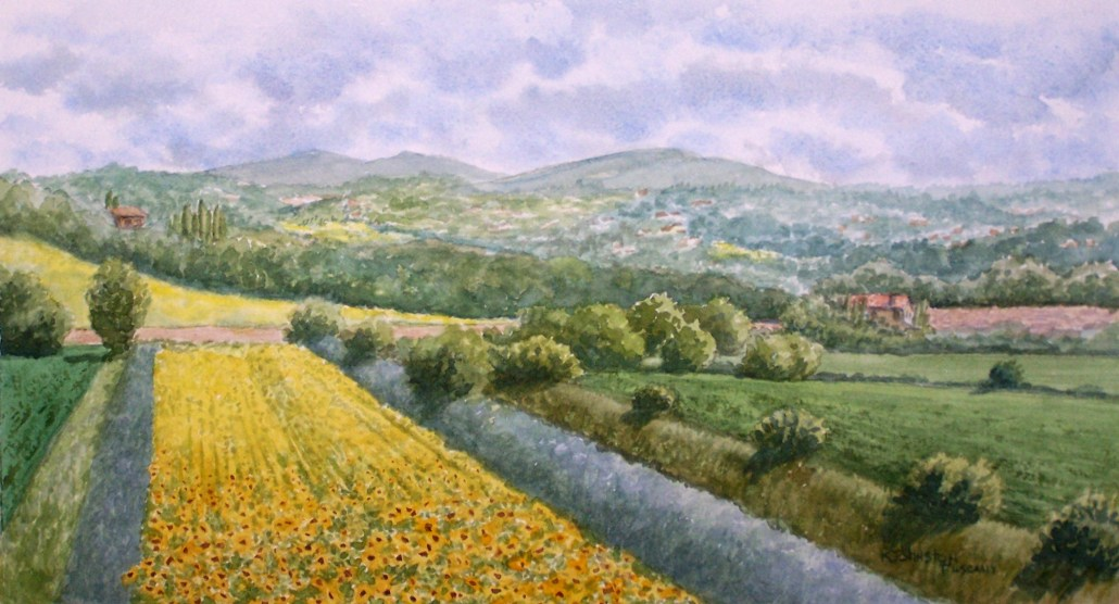 watercolor of sunflower fields in Tuscany Italy