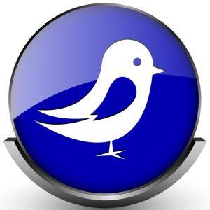 Blue shiny glossy icon on white background
