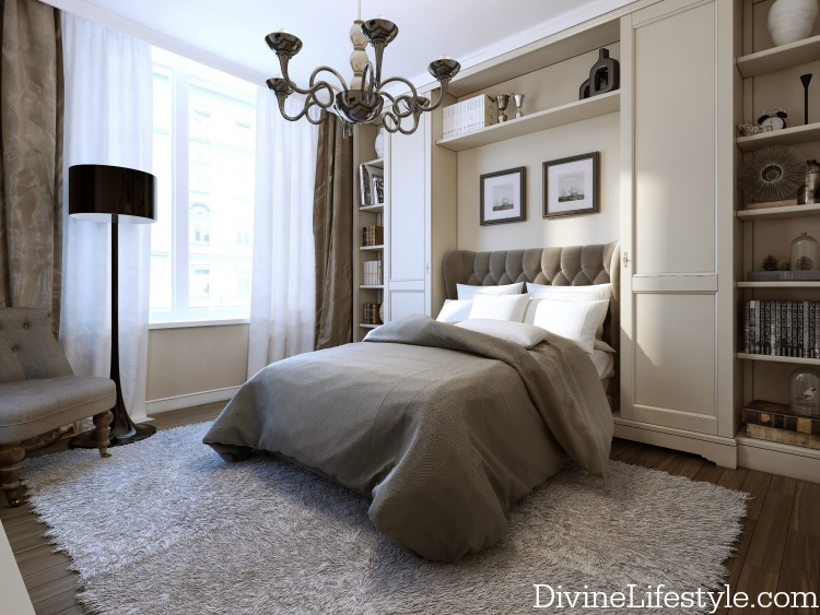 Bedroom in modern style, 3d image