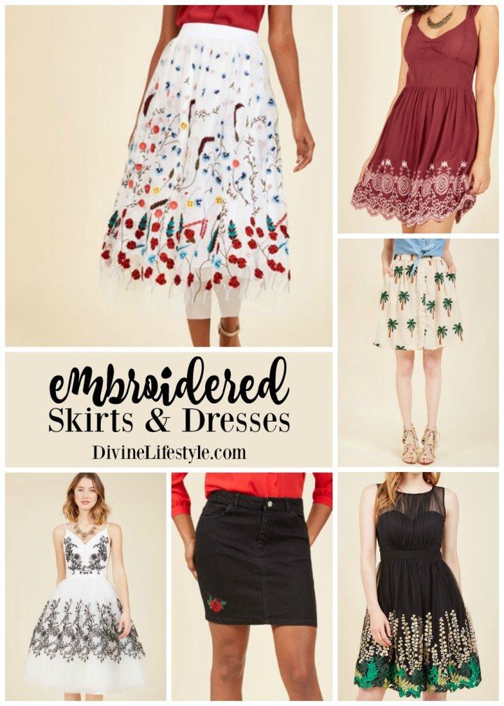 Fun Embroidered Skirts and Dresses for Spring