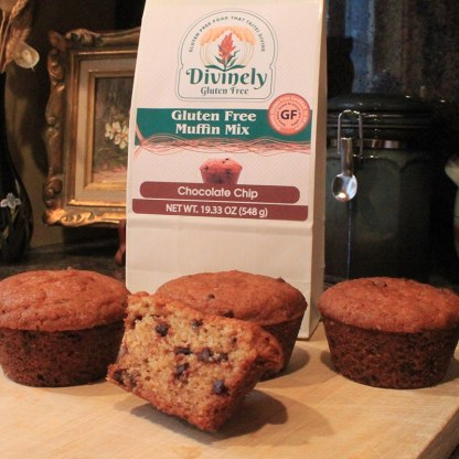 muffins and packaging for our gluten free chocolate chip muffin mix