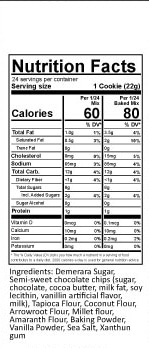 nutritional information for gluten free chocolate chip muffin mix