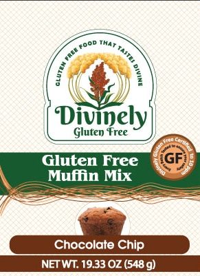 package label for gluten free chocolate chip muffin baking mix
